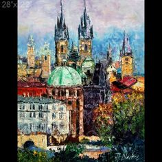 Prague Cityscape Towers Sky Palette Knife Original Art Oil Painting Andre Dluhos | eBay