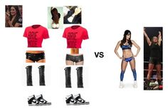 Brie Bella and Nicole Garcia vs Nikki Bella and Stephanie McMahon by wweanons on Polyvore featuring NIKE, SDH, Monday and WWE