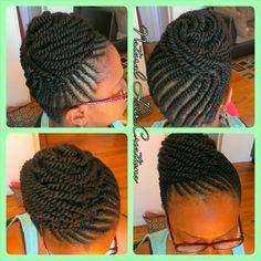 Flat twists bun kinky natural hair