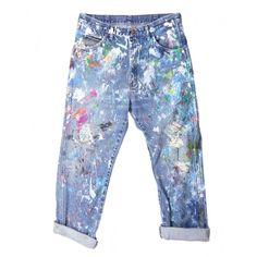 Rialto Jean Project Splatter Boyfriend Jeans - Vintage Denim - ShopBAZAAR