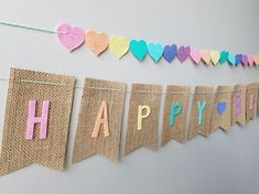 Items similar to Happy Birthday Banner on Burlap with Pastel Rainbow Felt Letters with Baker's Twine on Etsy Rainbow First Birthday, Baby Boy 1st Birthday Party, 1st Boy Birthday, Fiesta Decorations, Diy Birthday Decorations, Diy Birthday Banner, Happy Birthday Banners, Birthday Invitations, Lalaloopsy Party