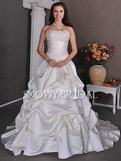 Princess Cathedral Train Satin Beaded Strapless Corset Wedding Dress - US$ 221.39 - Style W0080 - Snowy Bridal