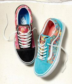 Vans Girls Multi-Floral and Peacock Old Skools