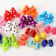 50pcs/lot Pet Supplies Products Handmade Dog Grooming Accessories Cat Show Supplies Pet Hair Bows Rubber Bands 15 Colors