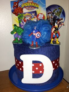 Super hero towel cake. What little boy wouldn't love this?