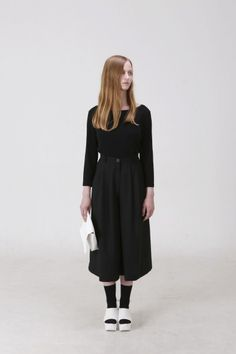 GOBLANK SS 2015 Accordion Skirt, Bell Sleeves, Bell Sleeve Top, Wearing Black, Summer Collection, Cocoon Coats, All Black, Style Me, Women Wear
