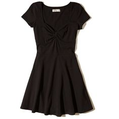 Hollister Twist-Front Skater Dress ($15) ❤ liked on Polyvore featuring dresses, black, retro dresses, skater dress, twist dress, flared skater dress and flared dresses