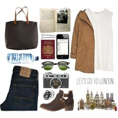 Let's go to London! by jocelynj17 on Polyvore featuring T By Alexander Wang, Woolrich, Office, Madewell, BOBBY, H&M and Hollister Co.
