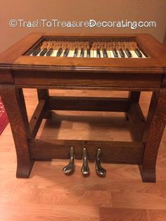 Use an old piano and repurpose into a side table