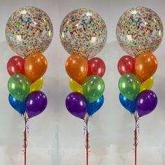 Clear Balloons, Confetti Balloons, Balloon Bouquet, Glitz And Glam, Bouquets, Color, Colour, Bouquet, Colors