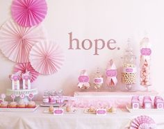 "What a beautiful ""Hope for a Cure"" display created by Paula at Frog Prince Paperie! We all know someone who has been touch by breast cancer. Paula created these printables to help a friend out who was planning an event to raise awareness of breast cancer. She has generously made all these printables free for …"