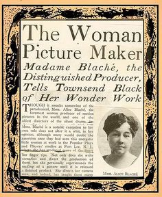 "what a wonderful piece of  ephemera  about Guy-Blache, ""The Woman Picture Maker"""
