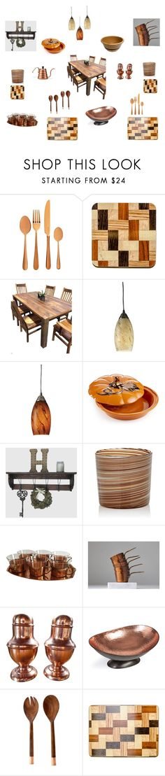 """Copper Kitchen Ware"" by einder ❤ liked on Polyvore featuring interior, interiors, interior design, home, home decor, interior decorating, Viners, DutchCrafters, ELK Lighting and Martha Stewart"