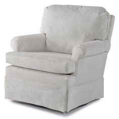 This nursery swivel glider is ideal for rooms trying to save space, but still allows you to spend those precious hours with your newborn. Built with a durable, kiln-dried hardwood frame parts, as all Best Chairs products, this model features a blown pillow back and reversible soft, yet sturdy seat cushion. This swivel glider is accented by a tall pleated skirt and cording. Complete your nursery setting with the matching glide ottoman.<br><br>The Best Chairs Claire Swivel Glider -...