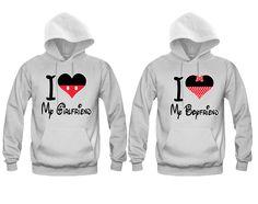 I Heart My Girlfriend - I Heart My Boyfriend Cartoon Theme Unisex Couple Matching Hoodies