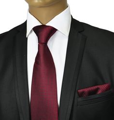 Burgundy Red Silk Tie Set by Paul Malone