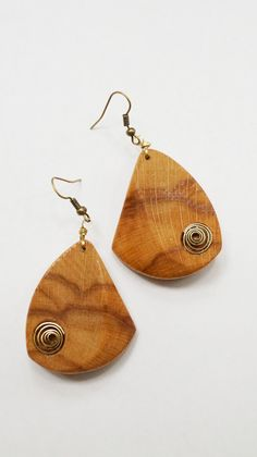 Wood and brass spiral earrings by artfantasyjewellry on Etsy, $40.00