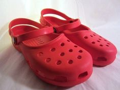 CROCS Classic MARY JANES in Red Womens 7 Croc Clogs Double Strap Ruby  #Crocs #MaryJanes