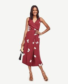 3acc8ff19f5 ... midi - perfect for sunny days and breezy nights. V-neck with crossover  front. Scoop back. Self tie belt. Lined bodice. from natural waist. Ann  Taylor