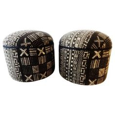 Check out this item at One Kings Lane! African Cotton Mud Cloth Ottomans, Pair