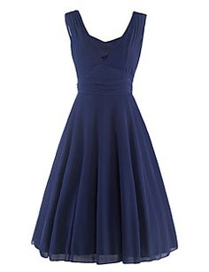 Women's Casual/Daily Vintage Sheath Dress,Solid Deep V Knee-length Sleeveless Blue Cotton / Polyester Summer – CAD $ 42.49