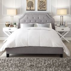 Inspire Q Grace On Tufted Arched Bridge Upholstered Queen Bed Platform Soft Cream Ivory Linen