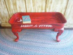 Coffee table made out of an old Radio Flyer wagon..