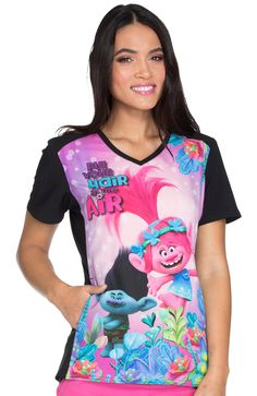 adc3390dd78 A Trolls scrub top for women will be a hit with any patient. Look and feel  fantastic in a brightly colored Trolls scrub top