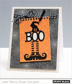 Spooky Sequel: Day 4 A week of Halloween inspiration featuring Penny Black stamps and dies and the clean and simple style of guest designer, Jean Manis Halloween Paper Crafts, Manualidades Halloween, Halloween Cards, Halloween Themes, Halloween Punch, Halloween Celebration, Halloween Halloween, Halloween Decorations, Penny Black Karten