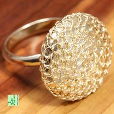 Unique Vintage Knitted Round Disc Ring; Solid 925 Sterling Silver 6.0g; size 7