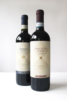 Dolcetto d'Alba, Barbera d'Asti, wine labels design