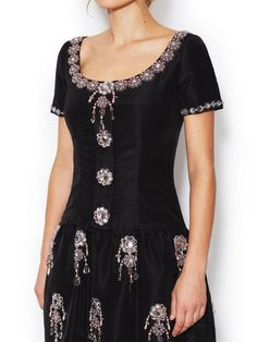 Scoopneck Embellished Dress With Pockets by Oscar de la Renta at Gilt