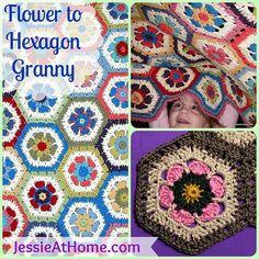 Flower to Hexagon Granny Free Crochet Pattern ✿⊱╮Teresa Restegui http://www.pinterest.com/teretegui/✿⊱╮