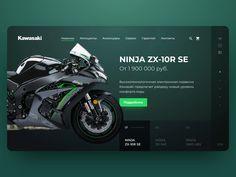 Kawasaki motorcycle web site design by Alexander Litvinenko Site Design, Ad Design, Layout Design, Design Ideas, Banner Design Inspiration, Web Banner Design, Design Responsive, App Ui Design, Graphic Design Trends