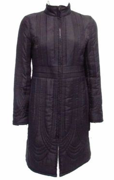 White House Black Market Black 100% Silk Quilted Long Coat Sz S EUC