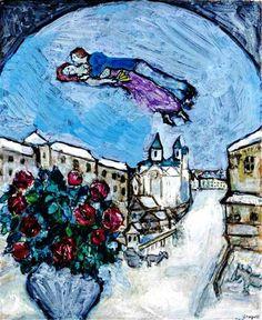 Marl Chagall - Amoureux dans le ciel ou Village enneigé (Vitebsk), 1928-30. Oil on board, 28.75 x 23.5 in. (73.03 x 59.69 cm).