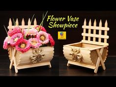 Flower vase Showpiece idea with jute and Popsicle Sticks Popsicle Stick Crafts For Adults, Popsicle Crafts, Fun Crafts For Kids, Popsicle Sticks, Craft Stick Crafts, Crafts To Do, Arts And Crafts, Paper Crafts, Craft Sticks