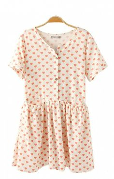 Sweet Heart Printing Short Sleeves Dress