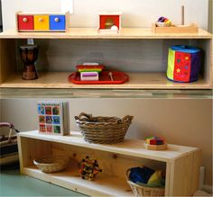 Toddler Shelves to Love at How we Montessori - Modern Maria Montessori, Montessori Toddler, Toddler Activities, Toy Shelves, Toddler Rooms, Childcare, Bookcase, Modern, Baby