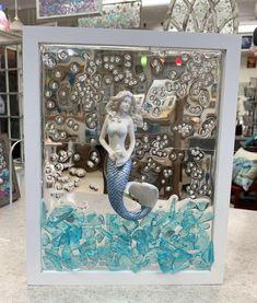 Sea Crafts, Sea Glass Crafts, Resin Crafts, Sea Glass Mosaic, Sea Glass Art, Stained Glass, Seashell Art, Seashell Crafts, Mermaid Glass