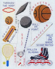 Sports Images Set 1 - Sports cross stitch pattern designed by Susan Saltzgiver. Category: Collections.