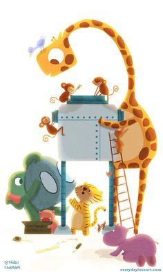 Kids Art Cute Giraffe Creative Robot Hippo Tiger Monkeys by nidhi, $20.00
