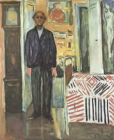Edvard Munch Self-Portrait Between Bed and Clock
