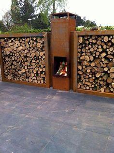 DIY Outdoor Firewood Rack Ideas Firewood # Ideas - Gartengestaltung Layout Home - wandbehandlung Parrilla Exterior, Outdoor Firewood Rack, Diy Outdoor Fireplace, Gazebos, Outdoor Kitchen Design, Fireplace Design, Fireplace Ideas, Backyard Landscaping, Backyard Patio