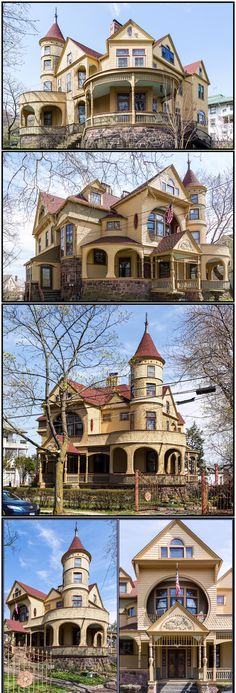 This Victorian exterior is extremely inviting and gives a lot for the eye to loo. This Victorian e New York Architecture, Victorian Architecture, Beautiful Architecture, Beautiful Buildings, Beautiful Homes, Architecture Photo, Abandoned Houses, Old Houses, Casa Hotel