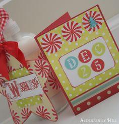 Christmas hand soap, ornament/tag, card.