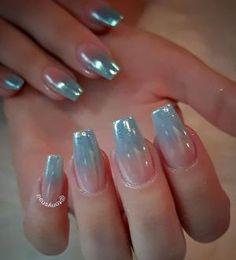 Unicorn nails gradient with a chrome like finish by @tonysnail by leta