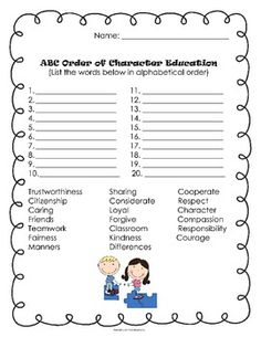 Good Character Traits Activities - FREE :)