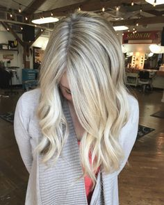 "Leah Hoffman on Instagram: ""This beautiful baby blonde took me an hour to foil. Brooklyn has dark THICKKKK hair that won't get light enough with hair painting or balayage. I jam pack in the foils in strategically placing them for the softest grow out. I used 9P (my new favorite!) 9V 9NB and clear to maintain the brightness but tone out the yellow. As much as I love trendy techniques... I enjoy challenging myself with lots of foils that takes forever to put in and still have to get her in…"