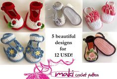 Crochet baby booties patterns  eBook  Permission to by MakiCrochet, $12.00